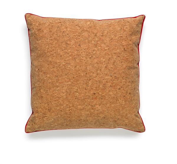 Cork cushion with red piping