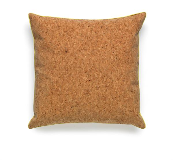 Cork cushion with yellow piping