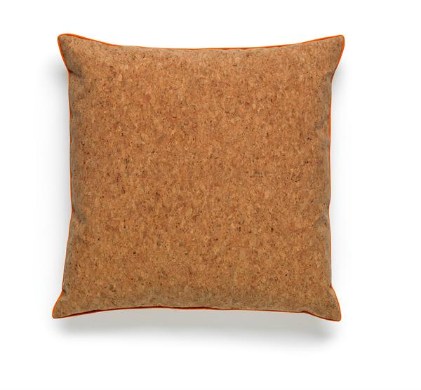 Cork cushion with orange piping