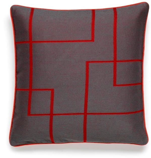 Jacquard cushion in red/grey
