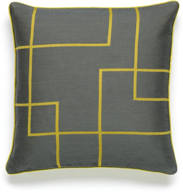 Jacquard cushion in yellow/grey